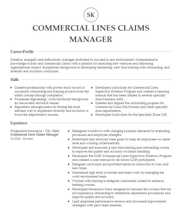 commercial lines account manager resume example mitchell