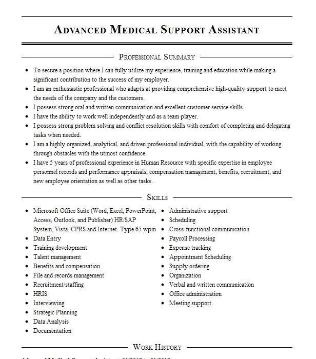 advanced medical support assistant resume example veterans