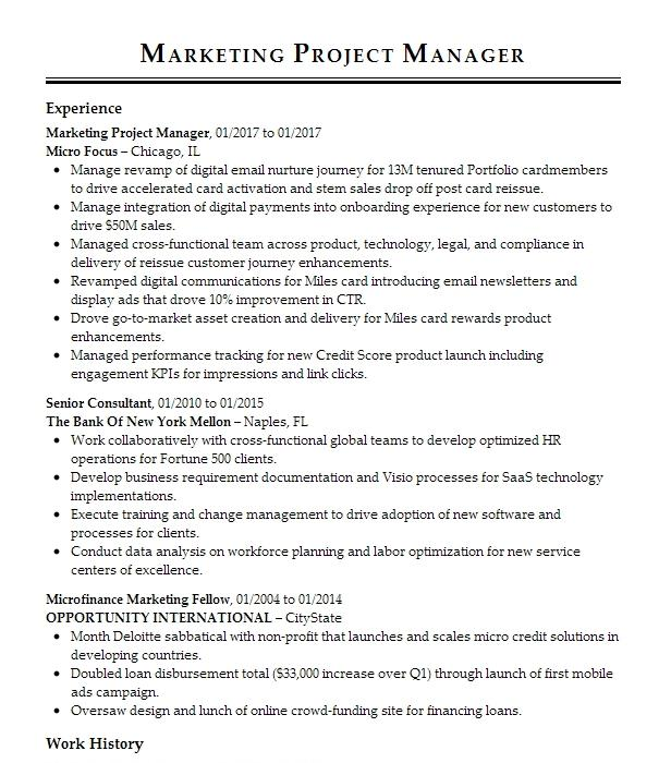Marketing Project Manager Resume Example Brc Design And Print