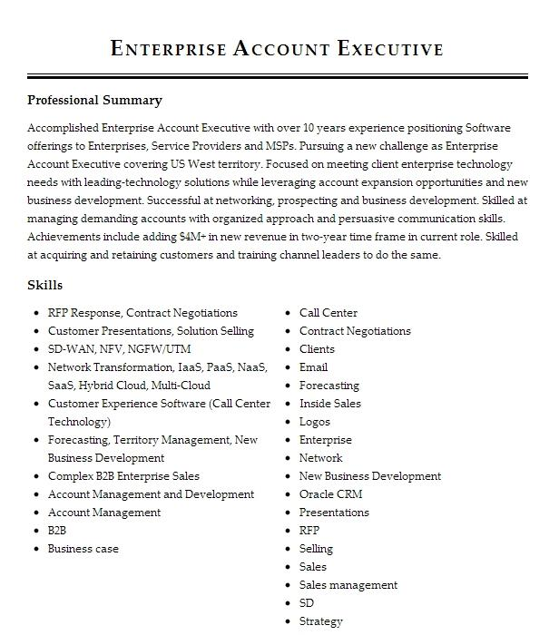 Enterprise Account Executive Resume Example The Muse
