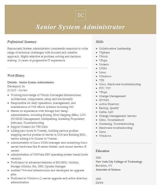 Senior System Administrator Resume Example American