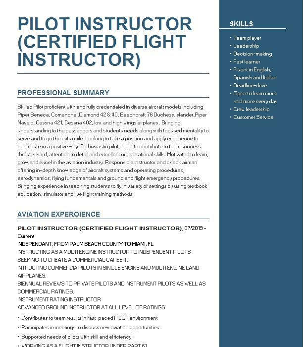 flight instructor and commercial pilot resume example