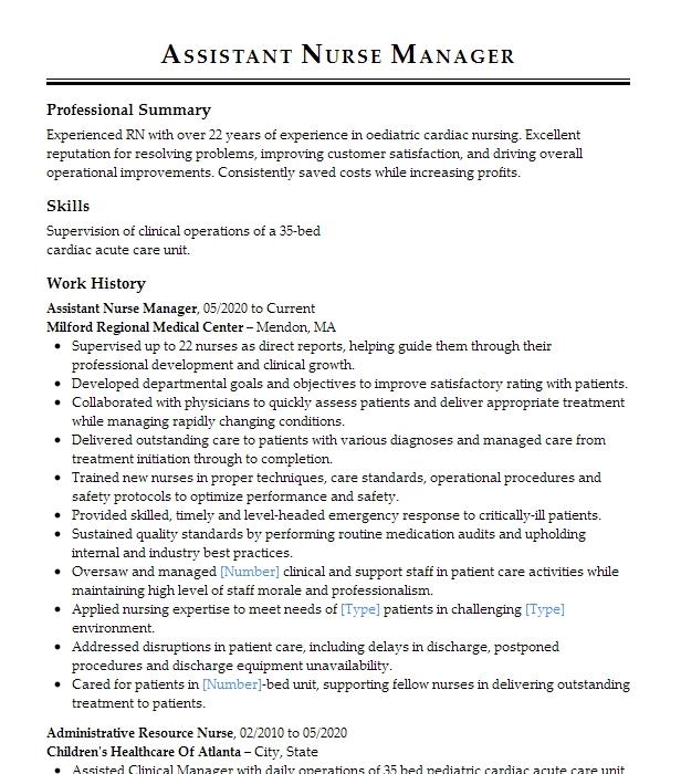Assistant Nurse Manager Resume Example Va Hospital Okc