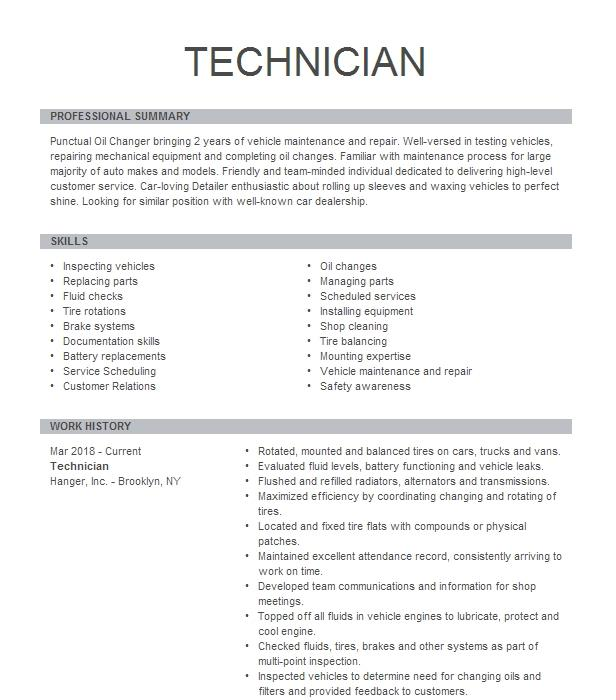 Auto Glass Technician Resume Example Safelite Auto Glass
