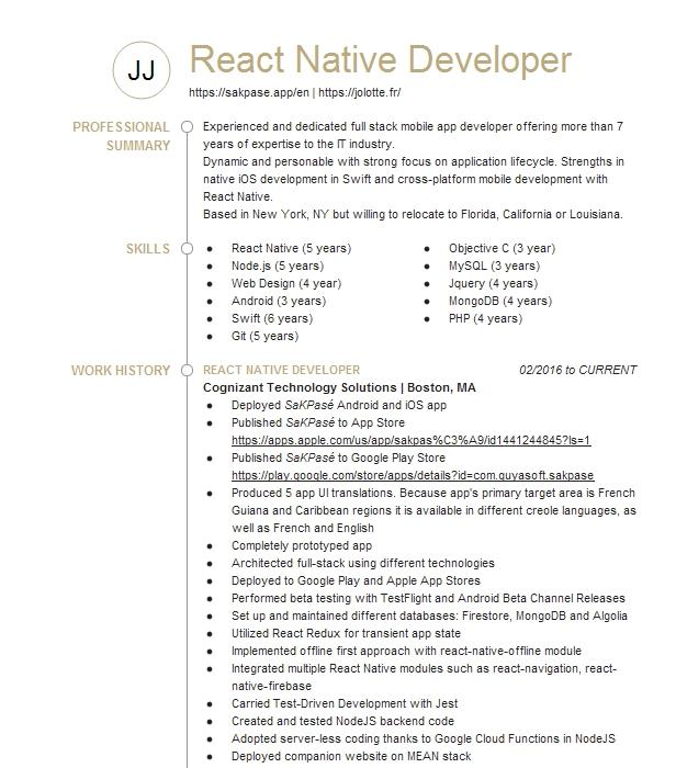 react developer resume example scout corporation