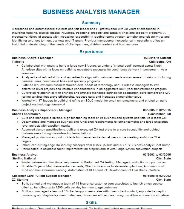 Insurance Business Analysis Contractor Resume Example Marlabs Inc