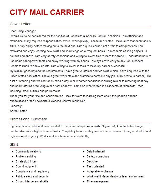 postal service application cover letter for usps