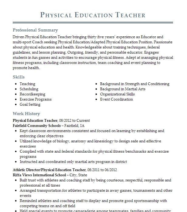 physical education teacher resume example  resumes misc