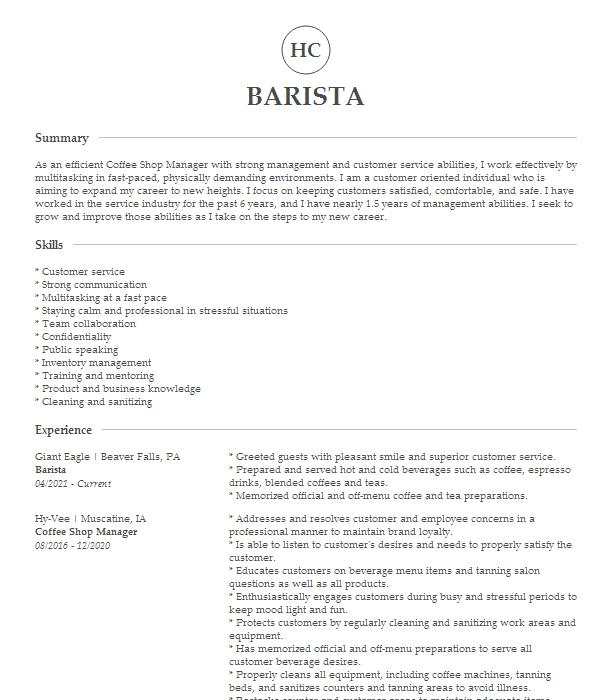 coffee shop assistant manager resume example big apple