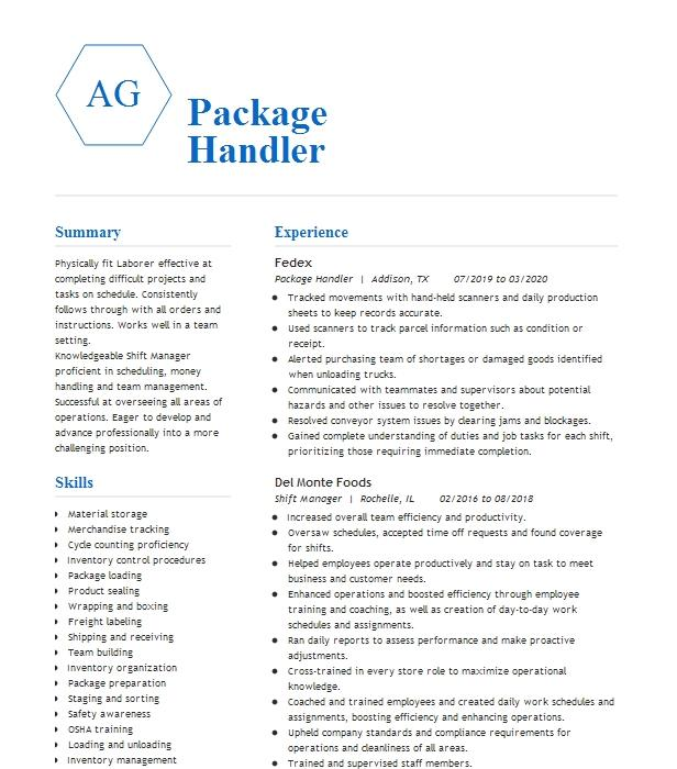 Warehouse Worker Package Handler Resume Example Ups