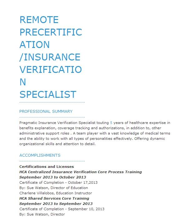 Current Precertification Specialist Resume Example Wellstar Health