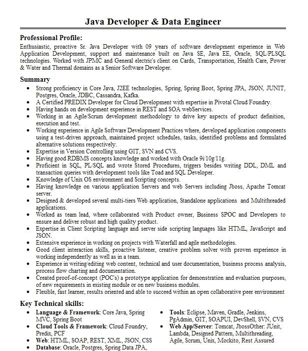 Java/Big Data Developer Resume Example Jpmorgan Chase & Co