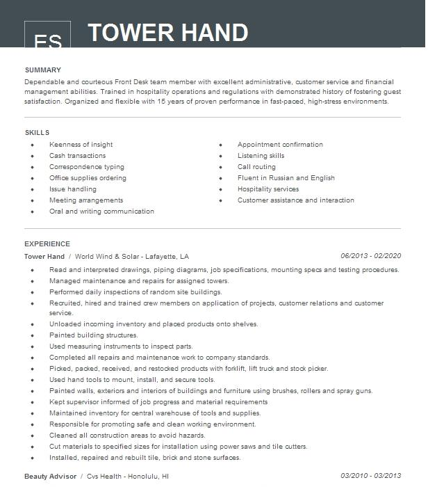tower hand resume example lazer construction