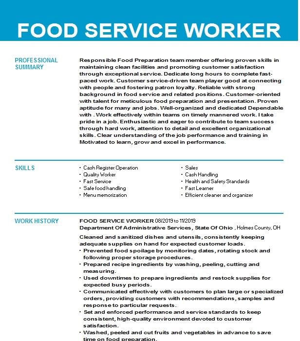 food service worker resume example colfax elementary