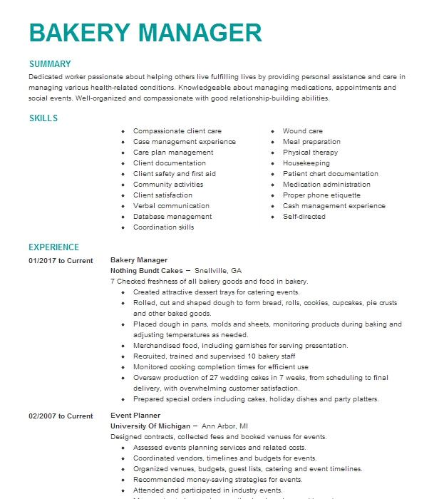 Bakery Manager Resume Sample | Manager Resumes | LiveCareer