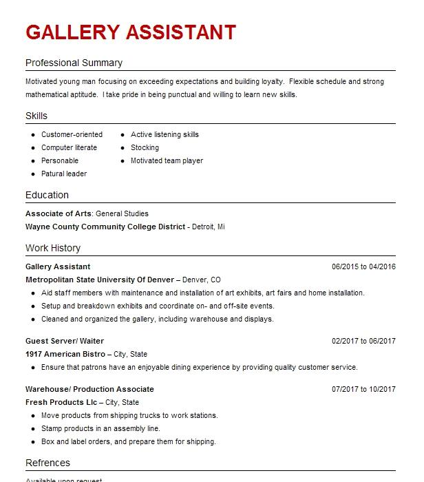 gallery assistant resume sample