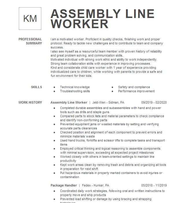 assembly line worker resume example potter inc  stryker