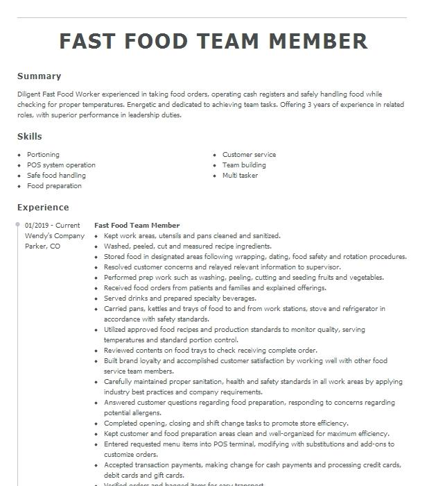 fast food team member resume example chick fil a inc