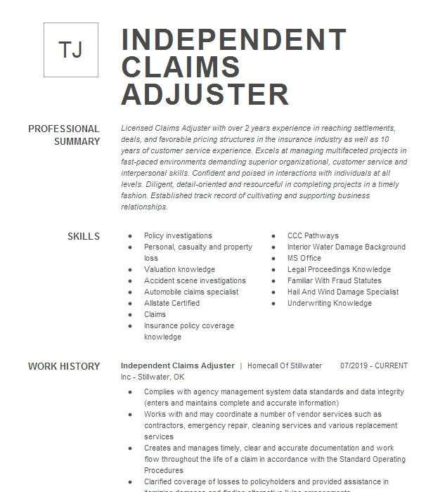 Independent Property Claims Adjuster Resume Example ...