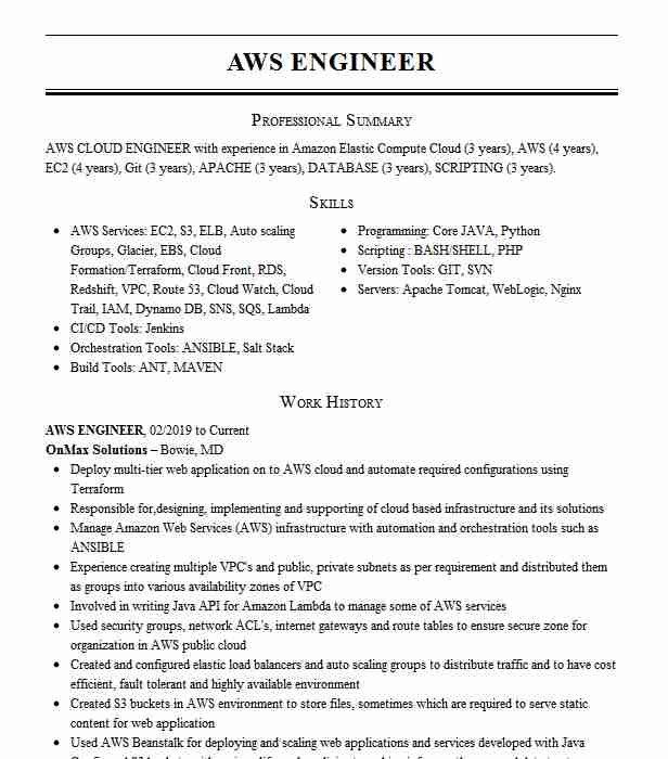 Aws Engineer Resume Example United Airlines Naperville Illinois