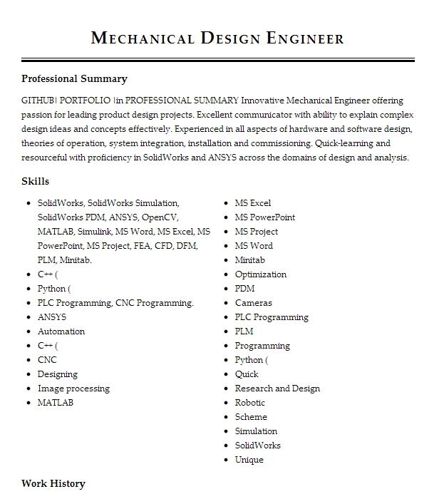 Mechanical Design Engineer Solidworks Resume Example True North