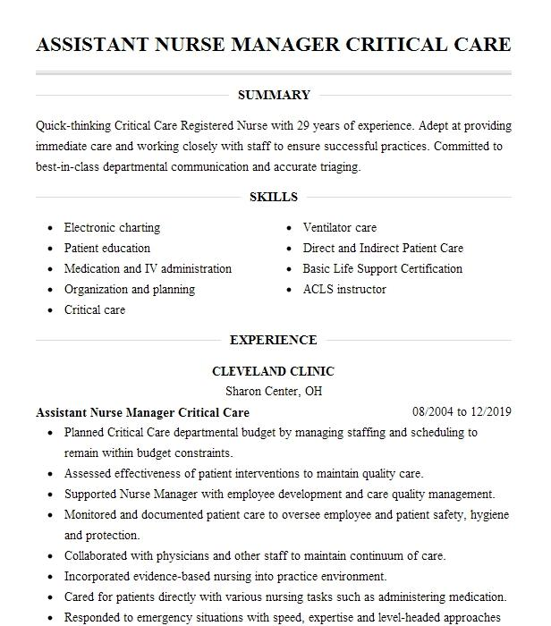 director of critical care nurse manager resume example
