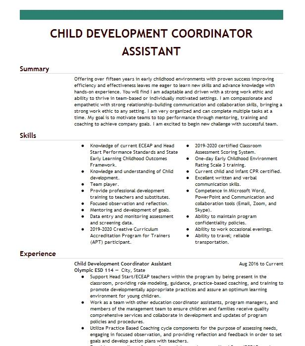child development assistant  floater  resume example new