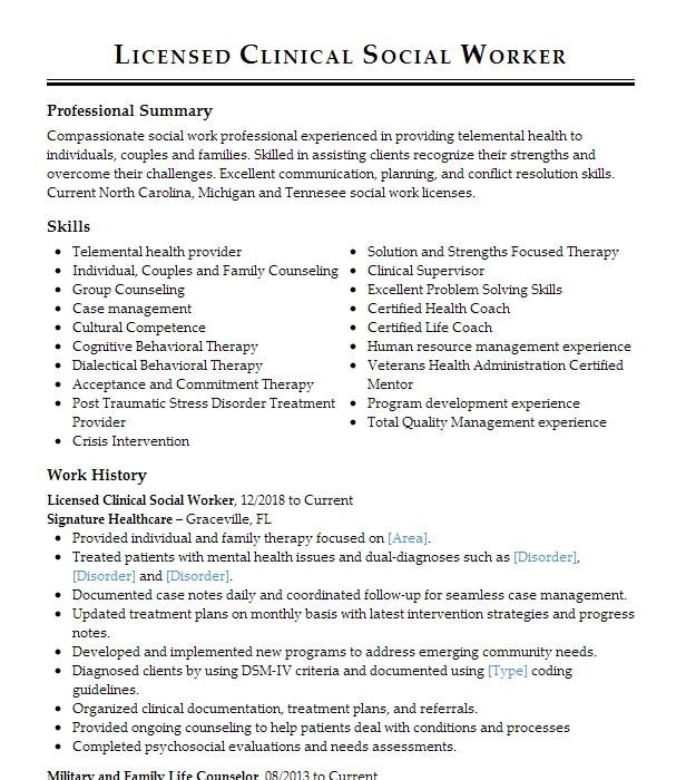 licensed clinical social worker  lcsw  resume example
