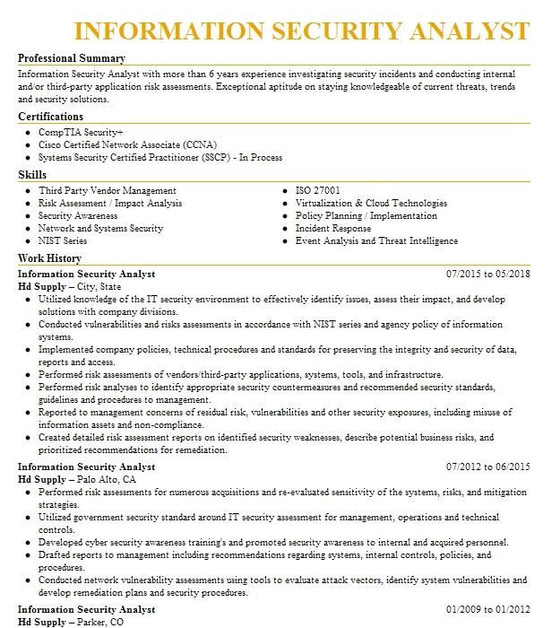 information security analyst objectives