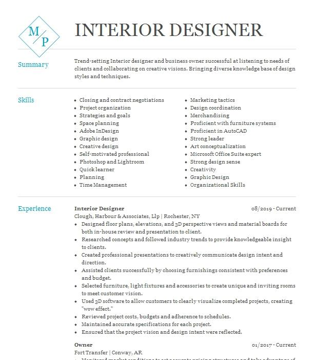 interior design resume objective examples cover letter