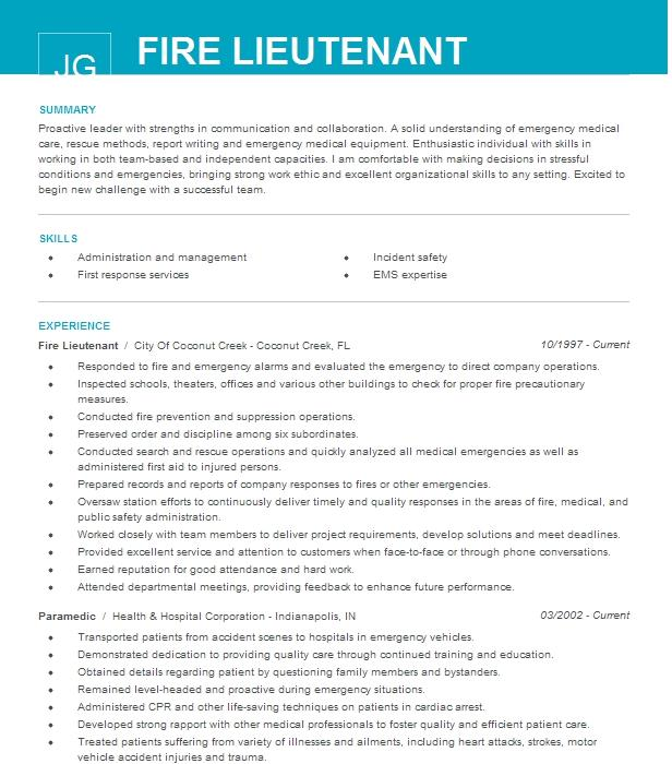 fire lieutenant resume example madison fire department