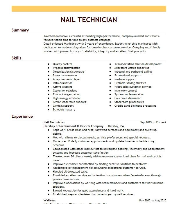 Nail Technician Resume Example International Nails And Spa Malden Massachusetts