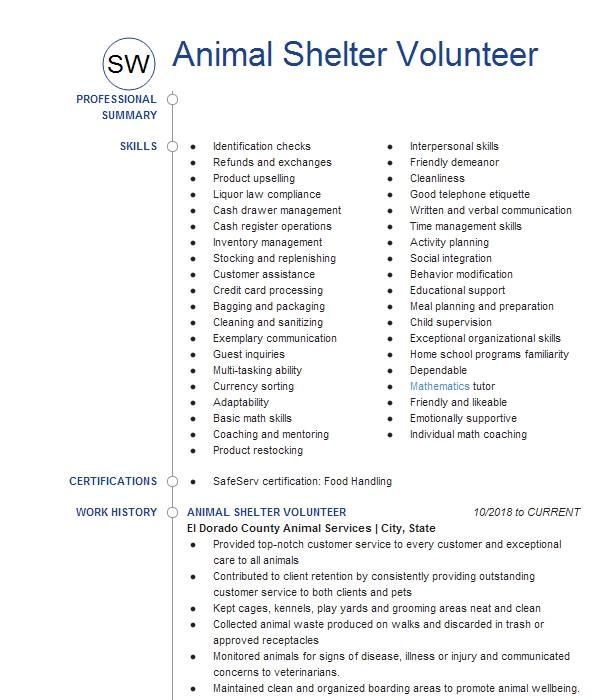 Animal volunteer resume examples how to write a job description example