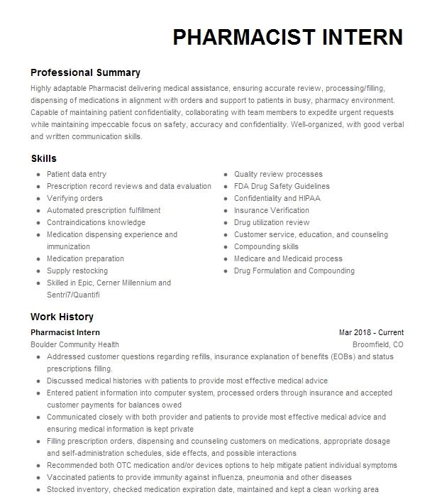 Pharmacist Intern Resume Example CVS