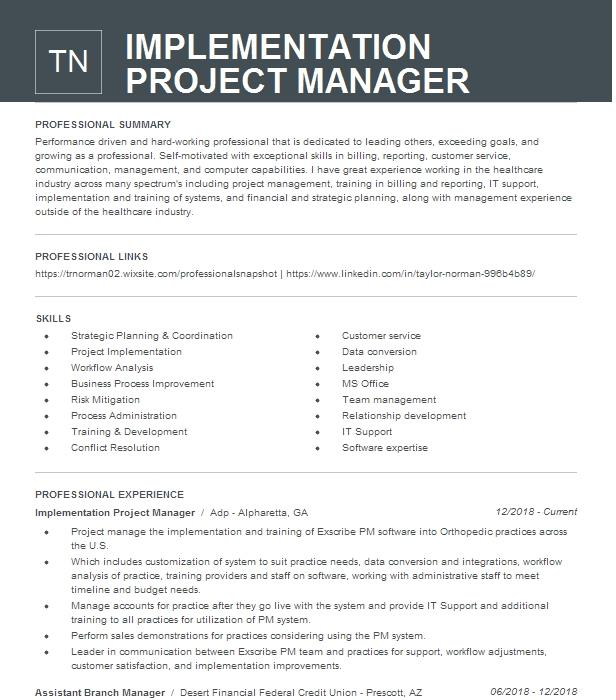 Implementation Project Manager Resume Example EGENCIA, BUSINESS TRAVEL  Expedia, Inc - Schaumburg, Illinois