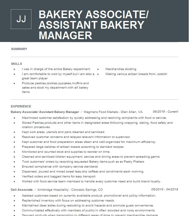 assistant bakery manager resume example ingles markets