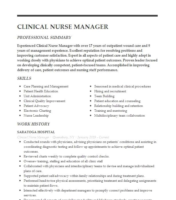 clinical nurse manager resume example overlake ob gyn