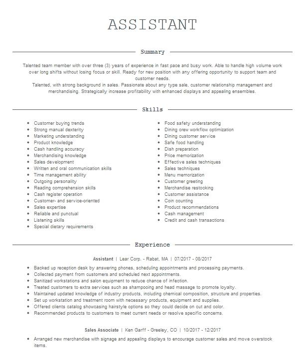 assistant resume example bubble tea and dessert cafe