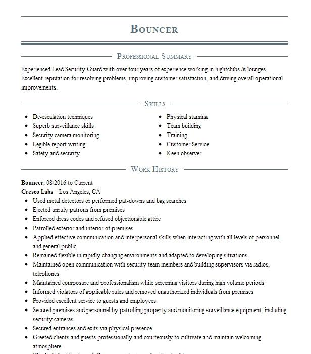 Sample resume bodyguard bouncer how to write proper operating manuals