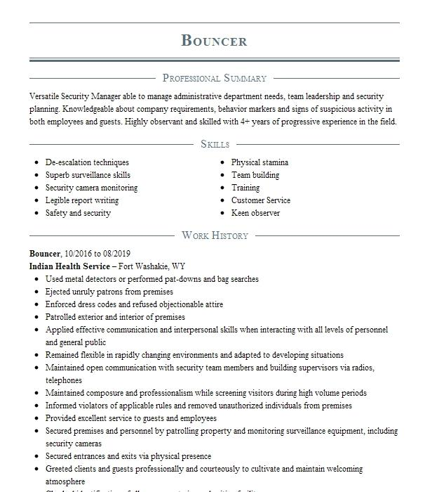 Resume examples for bouncer cover letter for ombudsman position