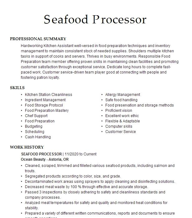 Seafood processing resume cheap dissertation ghostwriting for hire us