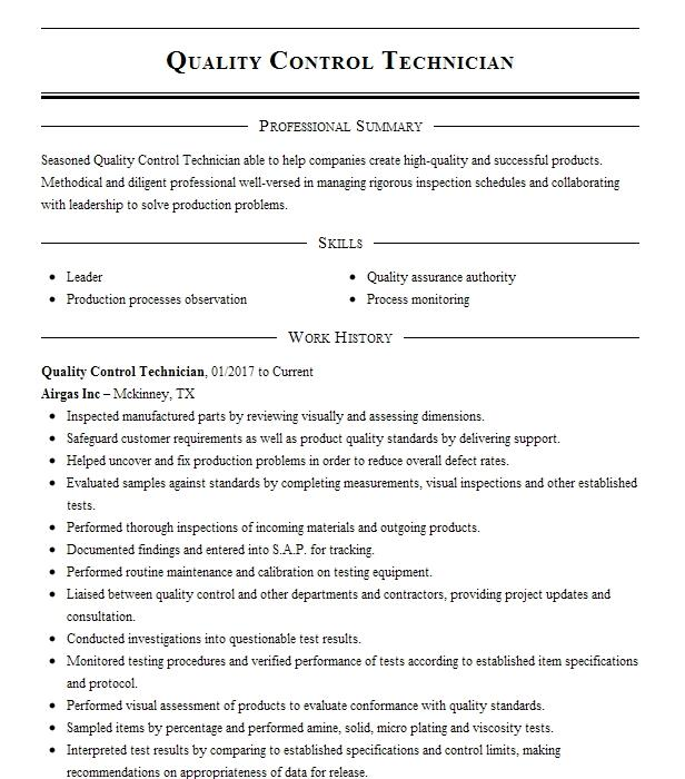 concrete quality control technician resume example penn