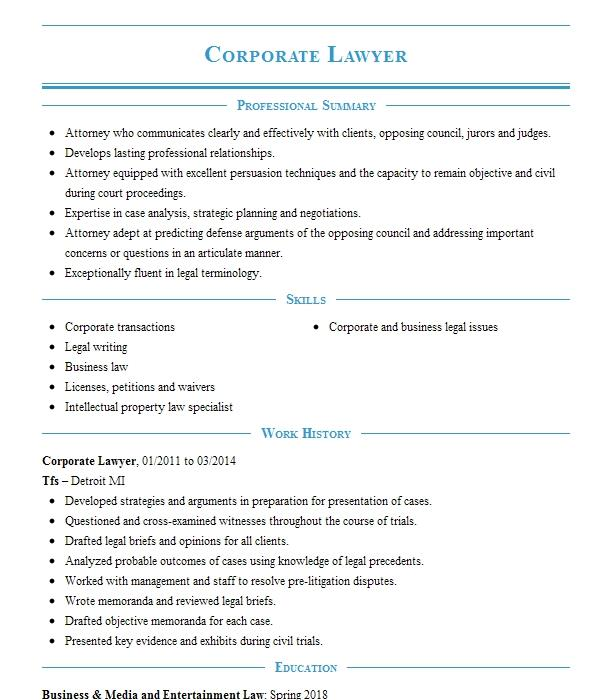 corporate lawyer resume sample