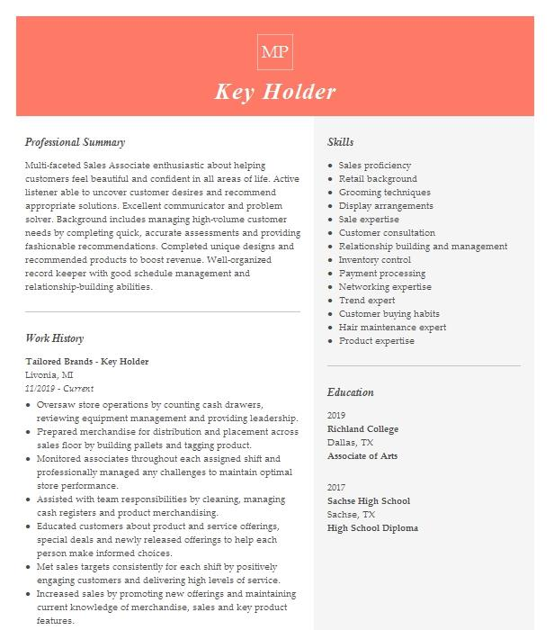 key holder resume example clarks retail store