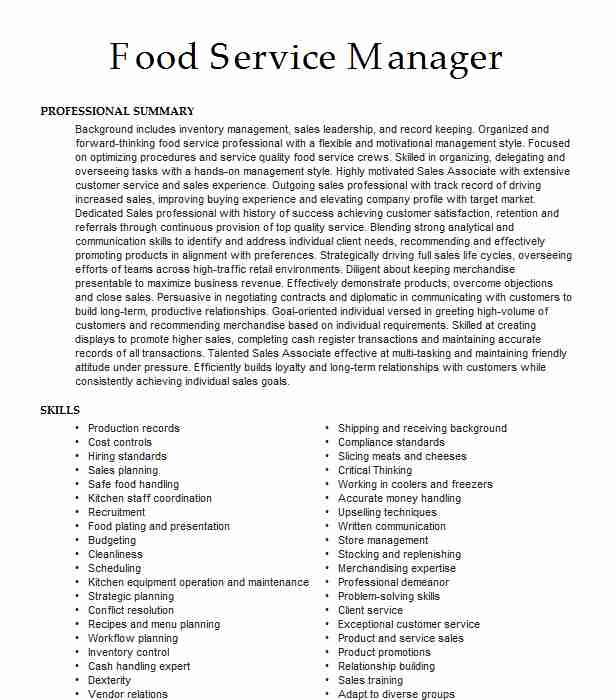 food service sales manager resume example multigrains inc