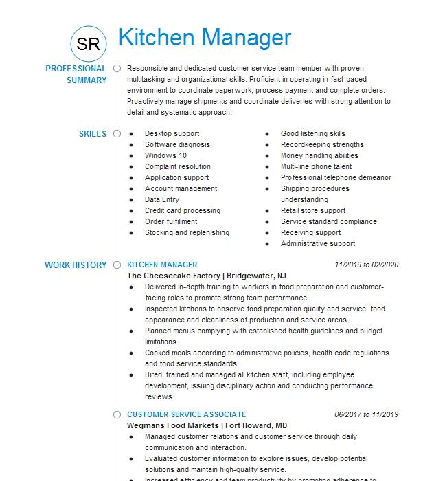 kitchen manager in training resume example chipotle