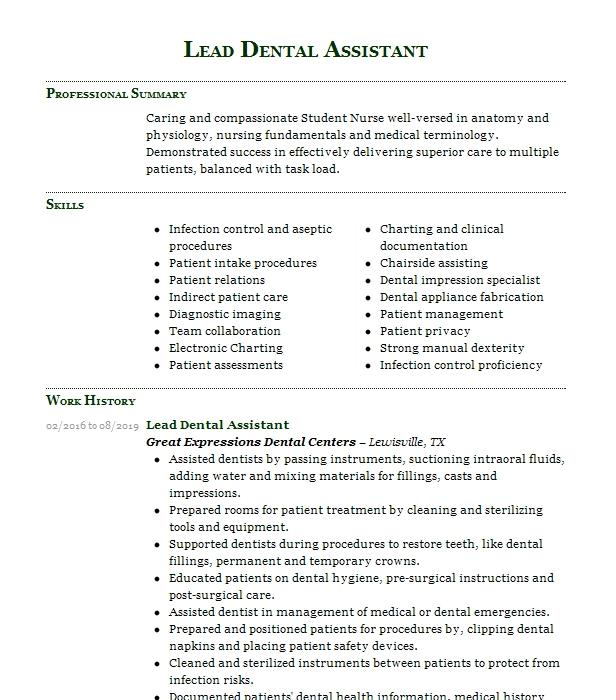 Lead Dental Assistant Resume Example Smiles Forever