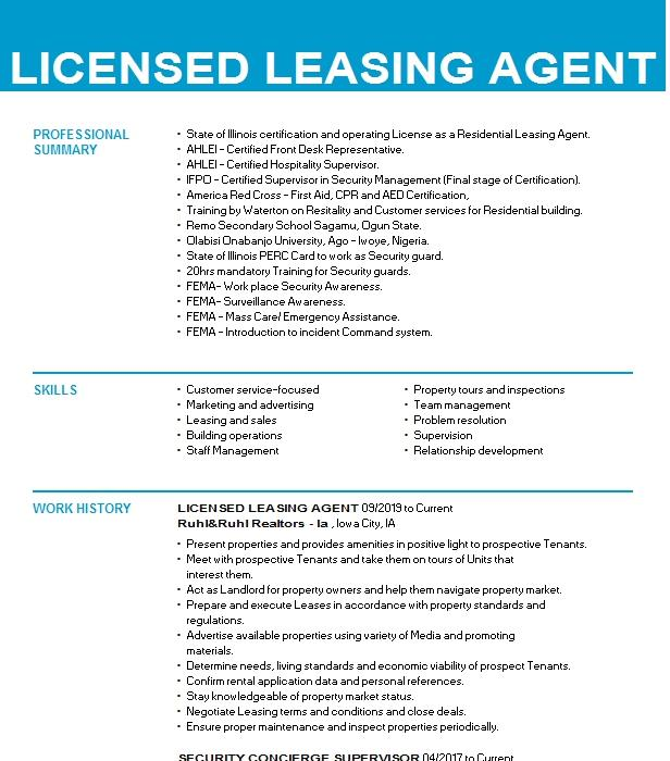 licensed leasing agent resume example coldwell banker