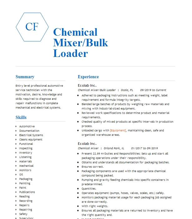 chemical loader resume example sgs petroleum services  oxy