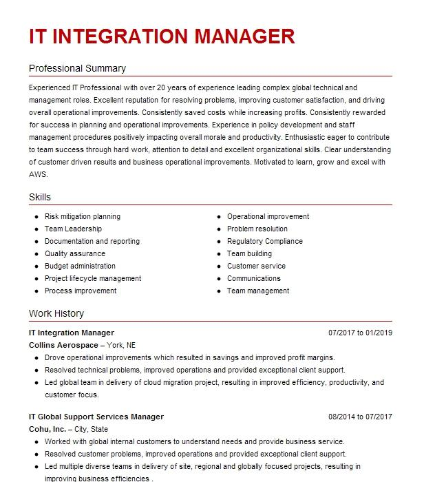Sap Integration Manager Resume Example Ford Motor Company